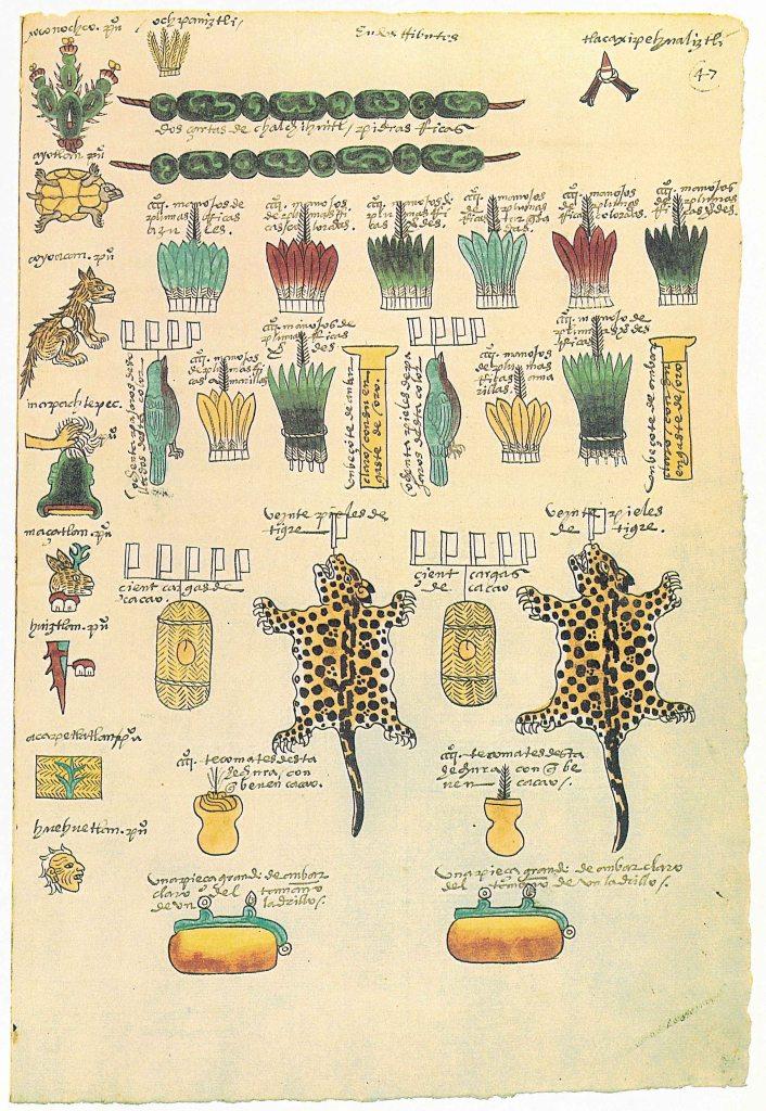 codex mendoza folio 47 valuable and exotic materials in mesoamerica jade amber jaguar pelt bird feathers